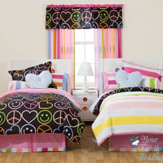 Girl Peace Sign Symbol Queen Comforter Teen Bedding Set