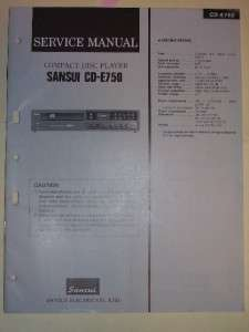 Sansui Service Manual~CD E750 Compact Disc Player~Original