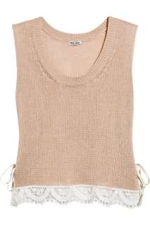 Miu Miu Lace trimmed open knit cotton tank   60% Off Now at THE OUTNET