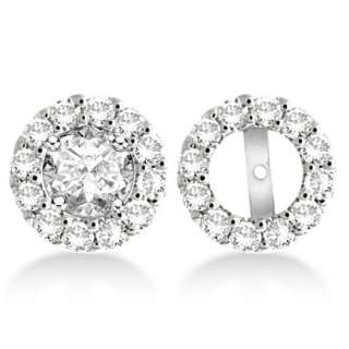 Round Cut Circle Diamond Earring Jackets 14k White Gold G H, SI