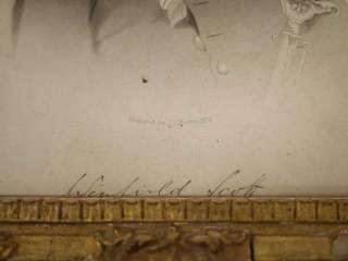 Antique 1860s Civil War General Winfield Scott Engraving Gold Original