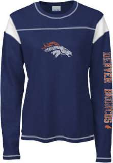Denver Broncos Womens Navy Giant Logo Too Long Sleeve Waffle Thermal