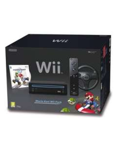 Nintendo Wii Black Console with Mario Kart and Wheel Very.co.uk