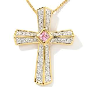 9ct Absolute™ Pink and Clear Cross Pendant with 18 Chain