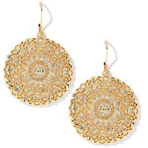 Susan Lucci Round Filigree Drop Earrings with Aurora Borealis Crystals