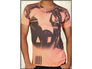 Summer Plastic Sexy Nude Woman Art Mens Short Sleeve T Shirt in Orange