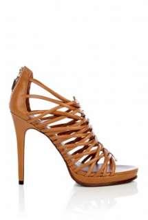 Diane Von Furstenberg  Tan Envy Multi Strap High Shoe by Diane Von