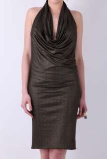 Black Cowl Neck Halter Dress by Richmond   Black   Buy Dresses Online