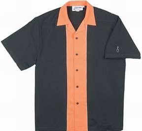 Retro Shirt Heavywght Rayon TIKI TIKI LOUNGE sewn Black/Orange