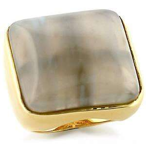 Jewelry   Square Light Gray Agate Gold Tone Ring SZ 5 Jewelry