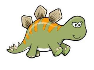 Childrens Wall Decals   Cartoon Green an Orange Baby Dinosaur