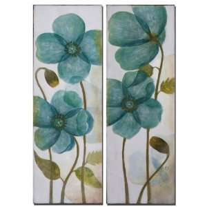 Set of 2 Aqua Blue Flowers Hand Painted Artwork on Canvas 36