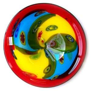 Murano art glass vase Plate Red with yellow, Blue A67