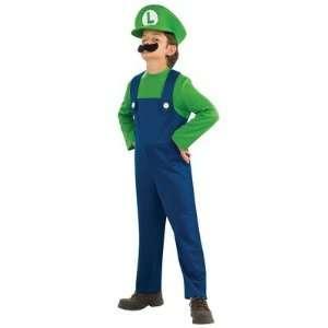 Deluxe Childs Mario Brothers Luigi Costume Medium 8 10