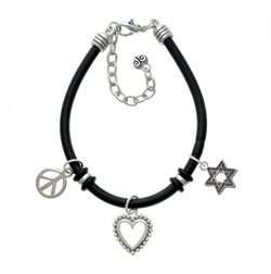 Beaded Border Black Peace Love Charm Bracelet [Jewelry] Jewelry