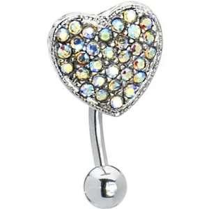 Top Drop Aurora Ritzy Heart Belly Ring Jewelry