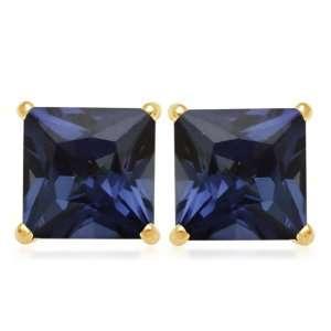 10k Yellow Gold, September Birthstone, Created Ceylon Sapphire 7 mm