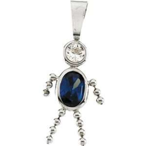 14k White Gold Pendant with Sapphire September Birthstone. Jewelry
