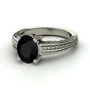 Oval Ceres Ring, Oval Black Onyx Platinum Ring Jewelry