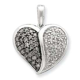 Silver Black and White Diamond Heart Pendant   JewelryWeb Jewelry