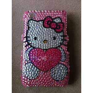 Blackberry Curve 8520 I Love You Hello Kitty Pink Bling Rhinestone