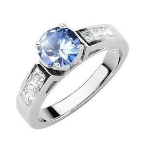 Gold Ring with Fancy Blue Diamond 3/4 carat Brilliant cut Jewelry
