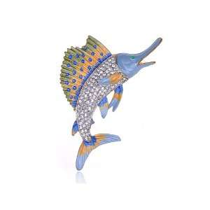 Rhinestone Multi Color Hand Paint Enamel Swordfish Fish Pin Brooch