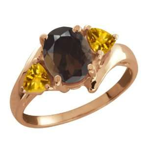 Oval Brown Smoky Quartz and Yellow Citrine 10k Rose Gold Ring Jewelry