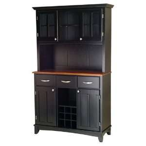 Home Styles Large Black Wood Buffet with Cottage Oak Top and 2 Glass