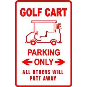 GOLF CART PARKING sign * sport game transport