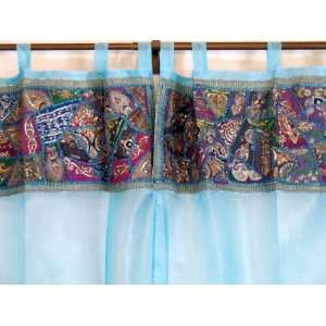 BLUE SHEER EMBROIDERY WINDOW DOOR CURTAINS PANELS 96 Home & Kitchen
