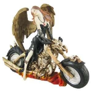 Sexy Dark Angel On Skeleton Chopper Motorcycle Statue
