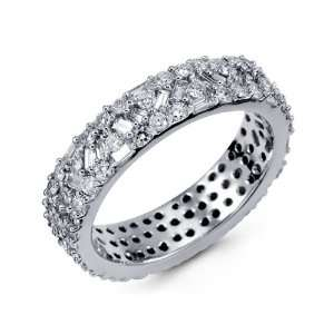 New 14k White Gold Baguette Round Cluster Eternity Ring Jewelry