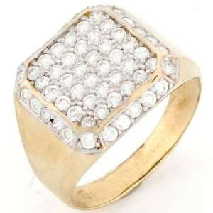 10k Solid Gold CZ Cluster High Polish Mens Ring Jewelry