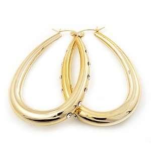 Gold Tone Crystal Oval Hoop Earrings   6cm Drop Jewelry