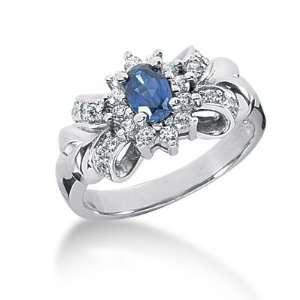 1 Ct Diamond Sapphire Ring Engagement Oval cut 14k White