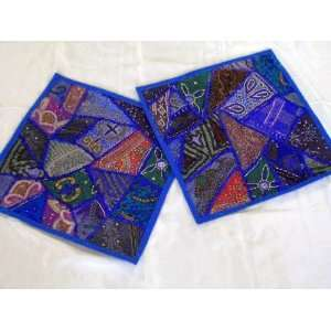 DECORATIVE BLUE MOTI SARI TRIBAL THROW PILLOWS COVERS