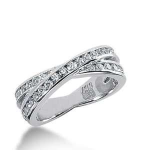 14k Gold Diamond Anniversary Wedding Ring 40 Round Brilliant Diamonds