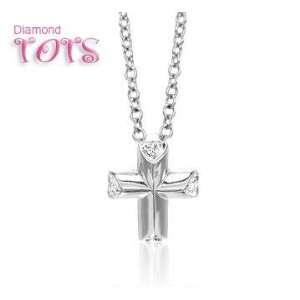 14k White Gold Heart Diamond Cross Childrens Pendant Jewelry