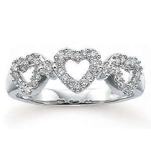 1/4 CaratW Diamond 14k White Gold Heart Ring Jewelry
