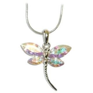 Beautiful Large Multi Colored Crystal Dragonfly Charm Necklace Silver