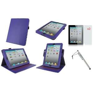 rooCASE 3n1 Dual Axis (Purple) Leather Folio Case cover