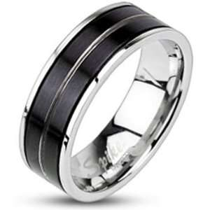 11  Spikes Mens Stainless Steel Black IP Striped Band Ring Jewelry