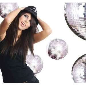 Sexy Showgirl Girl over Mirror Ball Background   Peel and