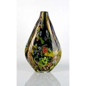 Handmade Art Glass Black w/ Colorful Flowers Vase Everything Else