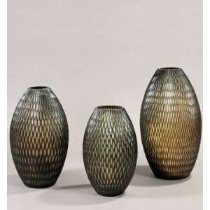 PC9888   Hand Blown Aqua Brown Glass Vase Patio, Lawn & Garden
