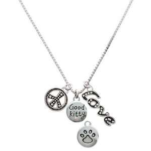 Good Kitty with AB Crystal and Paw Print, Peace, Love Charm Necklace