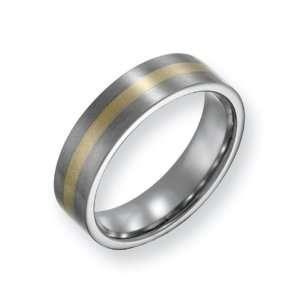 Titanium 14k Gold Inlay 6mm Satin Finish Comfort Fit Wedding Band Ring