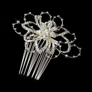 Lovely Silver Clear Rhinestone Floral Hair Comb Jewelry