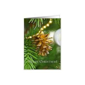 Gold pine cone on Christmas tree, Merry Christmas Card